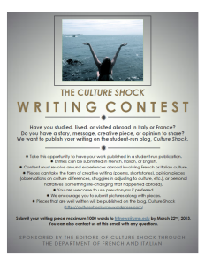 Culture Shock Writing Contest